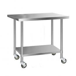 1219 x 762mm Commercial Stainless Steel Kitchen Bench 4pcs w/ Castors
