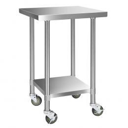 430 Stainless Steel Kitchen Bench Work Table w/ Wheels 61x61cm