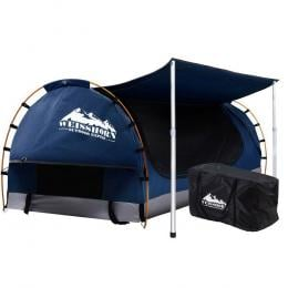 Double Swag Camping Swags Canvas Free Standing Dome Tent Dark Blue