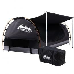 Double Swag Camping Swags Canvas Free Standing Dome Tent Dark Grey