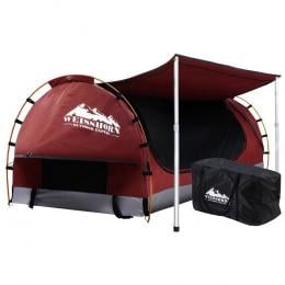 Double Swag Camping Swags Canvas Free Standing Dome Tent Red