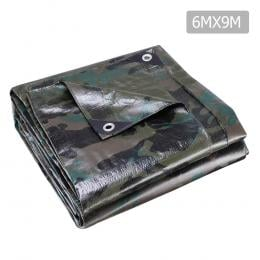6x9m Canvas Tarp Heavy Duty Camping Poly Tarps Cover Camouflage