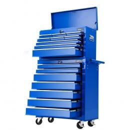 Tool Chest and Trolley Box Cabinet 16 Drawers Cart Garage Storage Blue