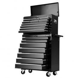 17 Drawers Tool Box Trolley Chest Cabinet Cart Garage Mechanic Black