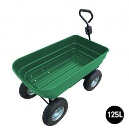 Garden Dump Cart Dumper Wagon Carrier Wheel Barrow 125L Green