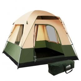 Family Camping Tent 4 Person Hiking Beach Tents Canvas Ripstop Green