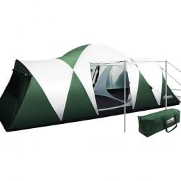 Family Camping Tent 12 Person Hiking Beach Tents (3 Rooms) Green