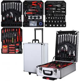 802pcs Tool Kit Trolley Case Set Mechanics Box Toolbox Silver