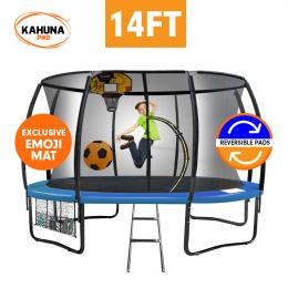 Kahuna Pro 14 ft Trampoline with Emoji Mat Reversible Pad Basketball Set