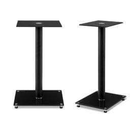 2x Speaker Stand Tempered Glass Floor Stands Home Theatre 58cm Black