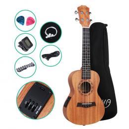 ALPHA 23 Inch Concert Ukulele Electric Mahogany Guitar with EQ