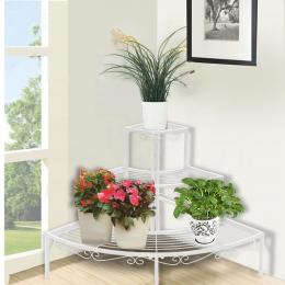 3 Tier Corner Shape Metal Plant Stand Planter Shelf In White Colour