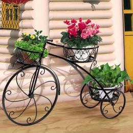 Bicycle Shape Metal Plant Stand With 3 Plant Pots Space Black Colour
