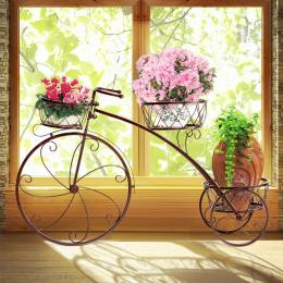 Bicycle Shape Metal Plant Stand With 3 Plant Pots Space Bronze Colour