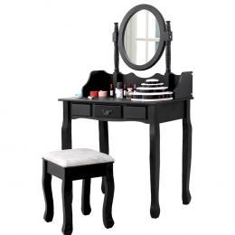 3-drawer Mirror Dressing Table & Stool In Black