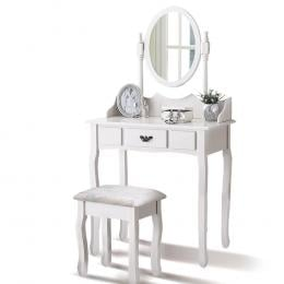 Levede Luxury Dressing Table And Stool Set With  White Colour