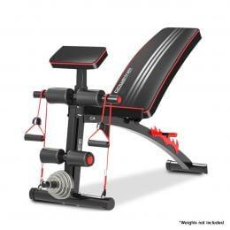 PowerTrain Adjustable Incline Decline Flat Home Gym Bench - 208