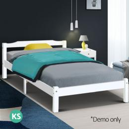 King Single Size Wooden Bed Frame Mattress Base Timber Platform White