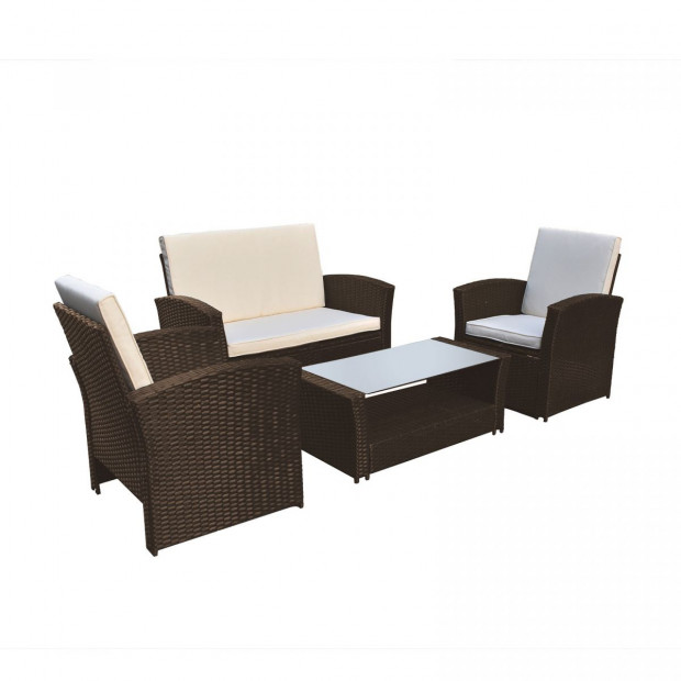 Outdoor 4 Piece Sofa Lounge Set Wicker Rattan Garden Oatmeal and Grey Image 10