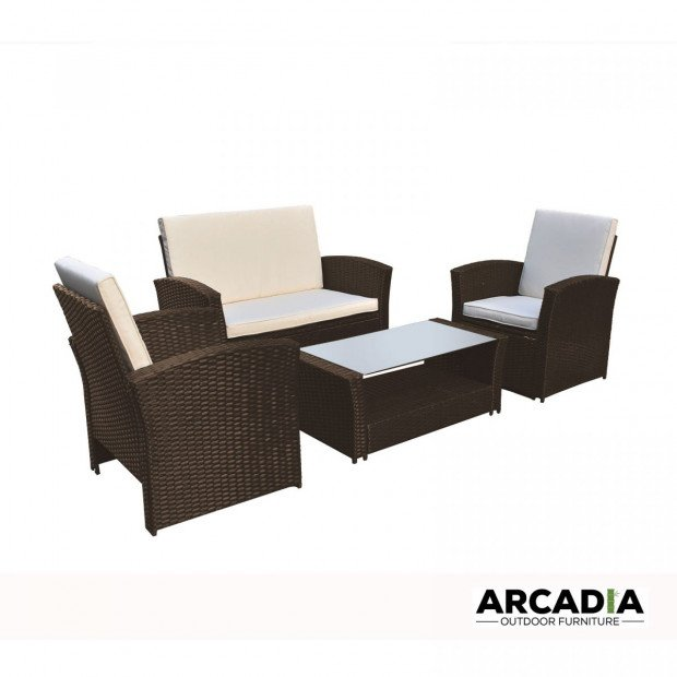 Outdoor 4 Piece Sofa Lounge Set Wicker Rattan Garden Oatmeal and Grey Image 3
