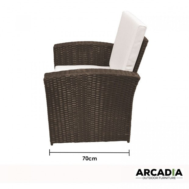 Outdoor 4 Piece Sofa Lounge Set Wicker Rattan Garden Oatmeal and Grey Image 6