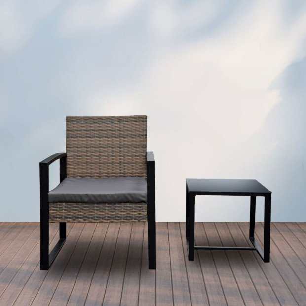 Furniture Outdoor 3 Piece Wicker Rattan Patio Set  Oatmeal and Grey Image 10