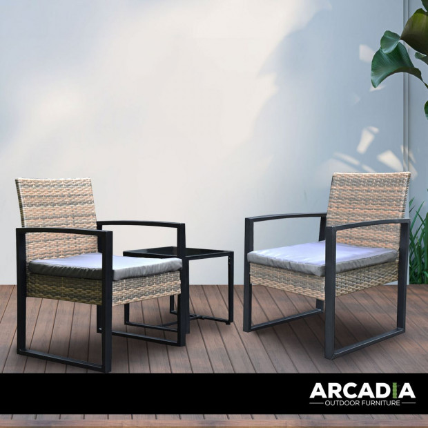 Furniture Outdoor 3 Piece Wicker Rattan Patio Set  Oatmeal and Grey Image 3
