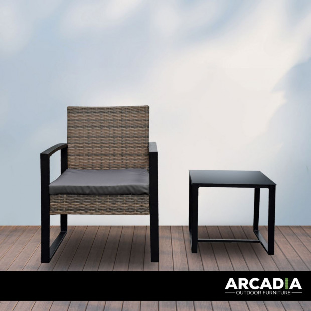 Furniture Outdoor 3 Piece Wicker Rattan Patio Set  Oatmeal and Grey Image 4