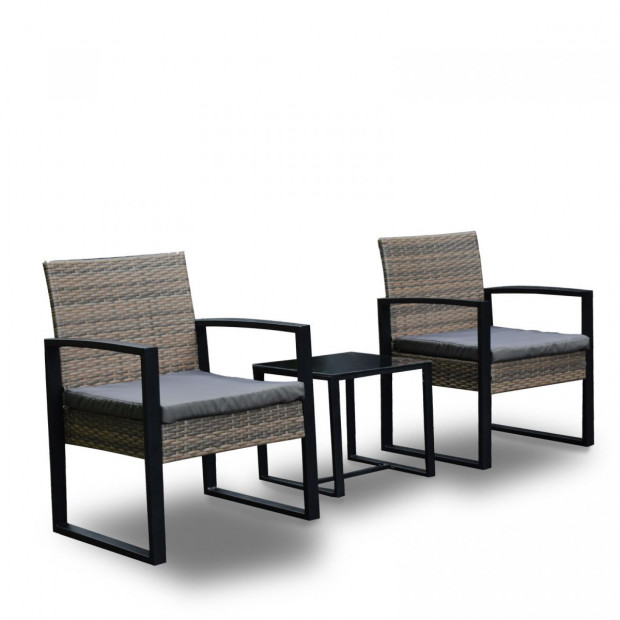 Furniture Outdoor 3 Piece Wicker Rattan Patio Set  Oatmeal and Grey Image 5