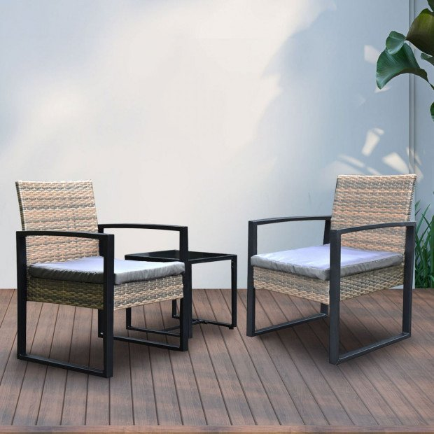 Furniture Outdoor 3 Piece Wicker Rattan Patio Set  Oatmeal and Grey Image 9