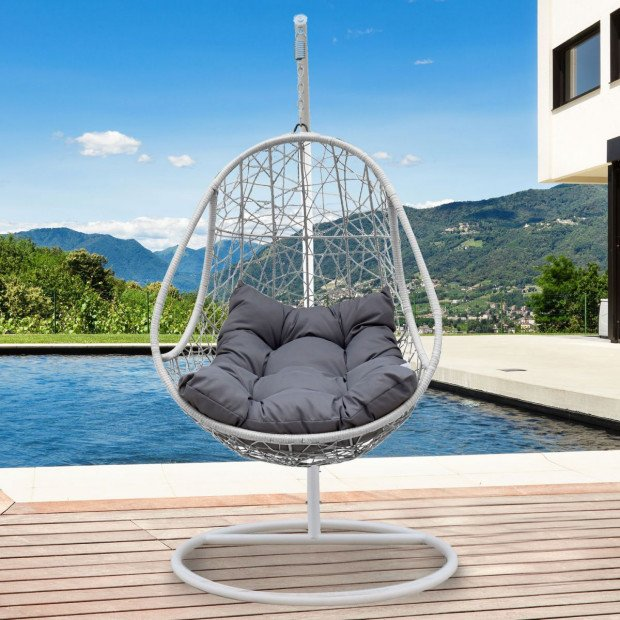 Furniture Rocking Egg Chair Swing Lounge Hammock  - Black and Grey