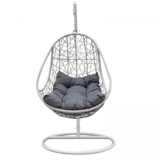 Furniture Rocking Egg Chair Swing Lounge Hammock  - Black and Grey Image 4
