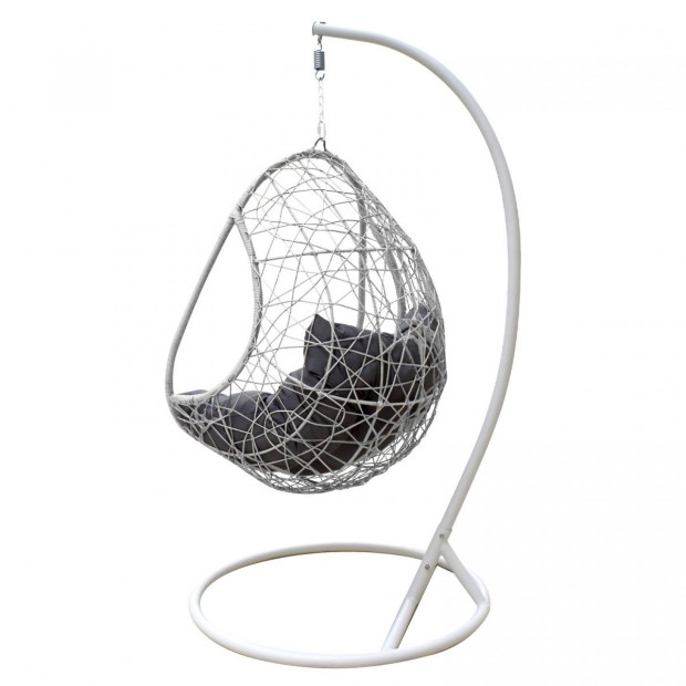 Furniture Rocking Egg Chair Swing Lounge Hammock  - Black and Grey Image 5