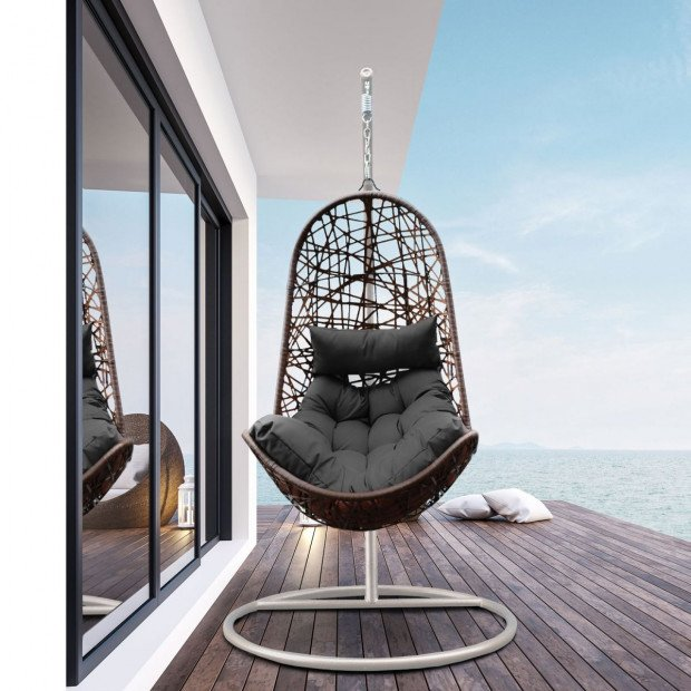 Furniture Hanging Basket Egg Chair Outdoor Wicker  Oatmeal and Grey