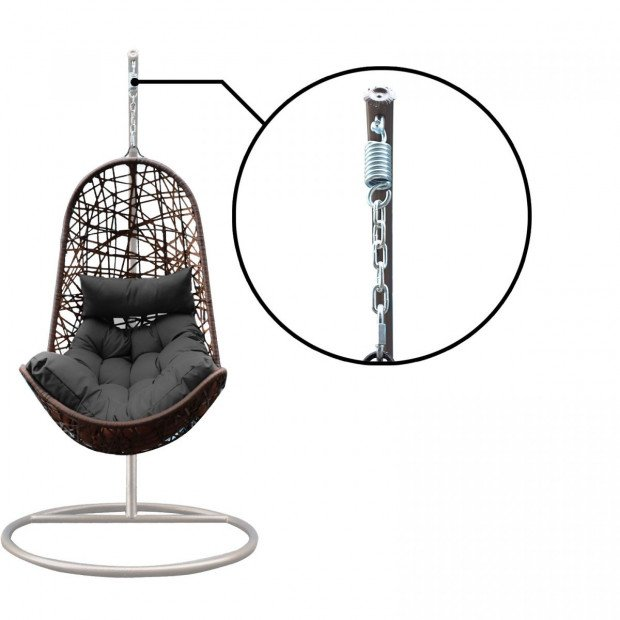 Furniture Hanging Basket Egg Chair Outdoor Wicker  Oatmeal and Grey Image 10