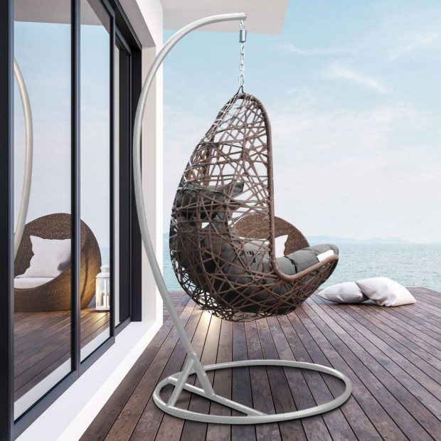 Furniture Hanging Basket Egg Chair Outdoor Wicker  Oatmeal and Grey Image 2