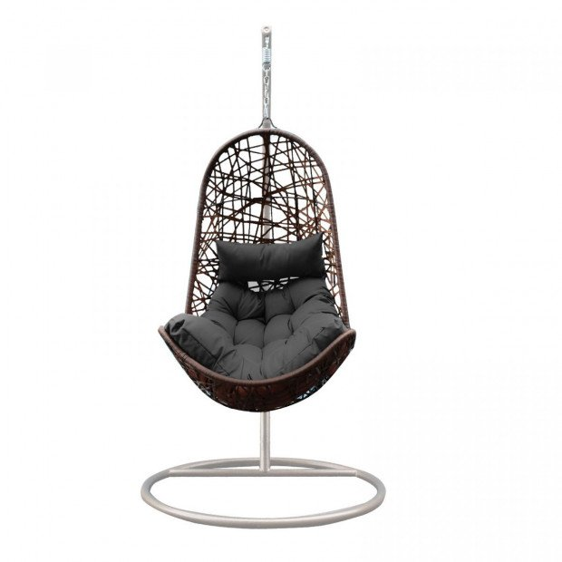 Furniture Hanging Basket Egg Chair Outdoor Wicker  Oatmeal and Grey Image 4