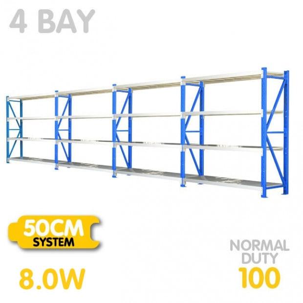 4-Bay shelving 8m-wide - 400kg