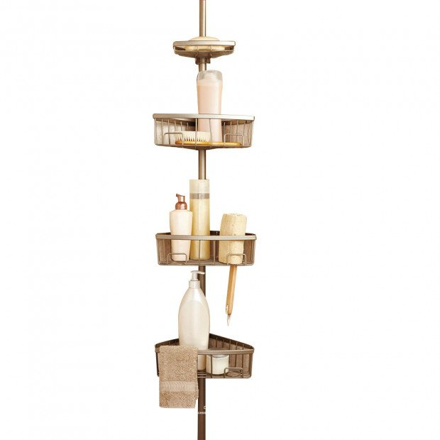 Luxury Tension Pole Shower Bath Caddy - Pearl Champagne