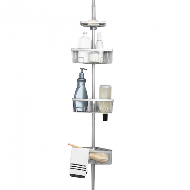 Luxury Tension Pole Shower Bath Caddy - Chrome