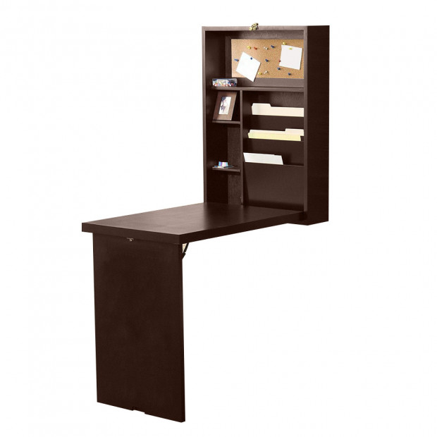 Convertible Wall Mounted Desk - Brown