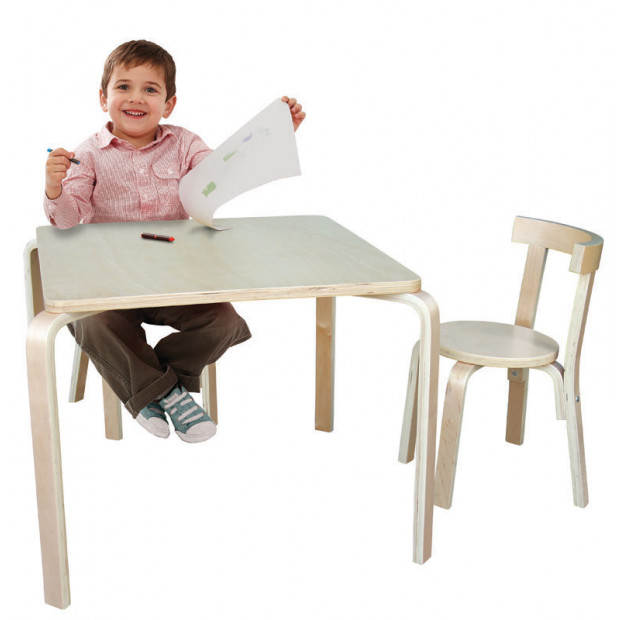 Jolly Kidz Scandi Table and Chairs 60cm Square - Natural