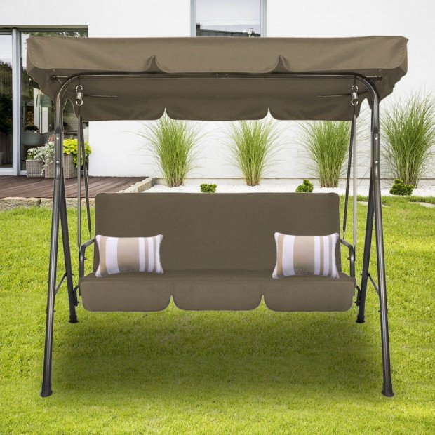 Milano Outdoor Swing Bench Seat Chair Canopy Furniture Hammock Coffee