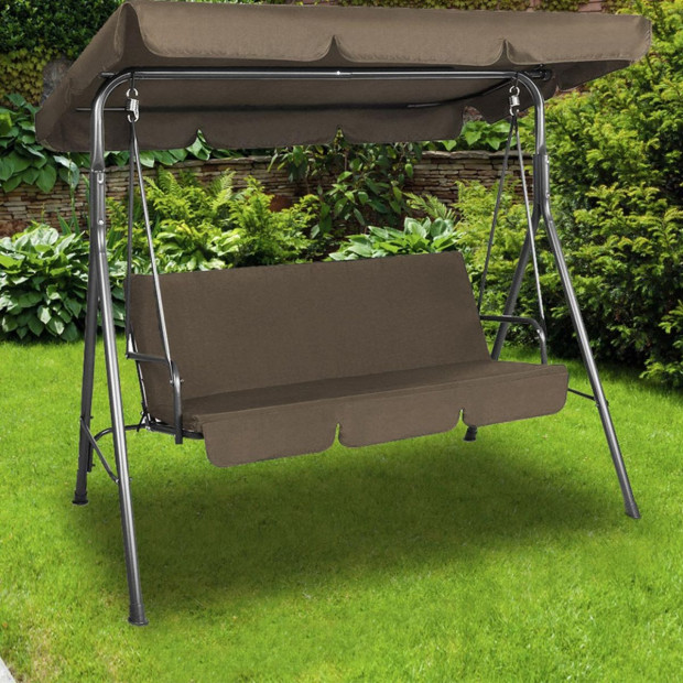 Milano Outdoor Swing Bench Seat Chair Canopy Furniture Hammock Coffee Image 3
