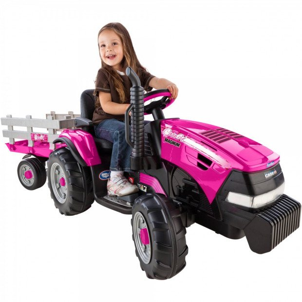 Case IH Magnum Tractor Trailer 12-Volt Battery-Powered Ride-On - Pink