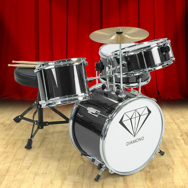 Kids 4 Piece Drum Kit - BLACK
