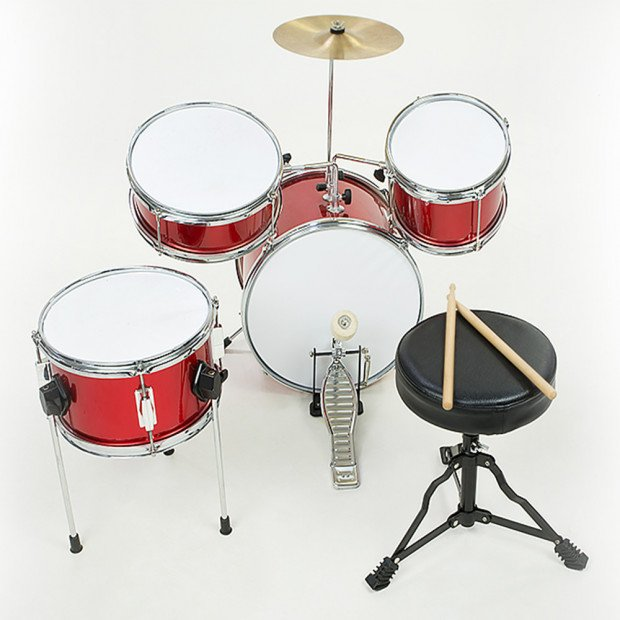 Kids 4 Piece Drum Kit -RED Image 4