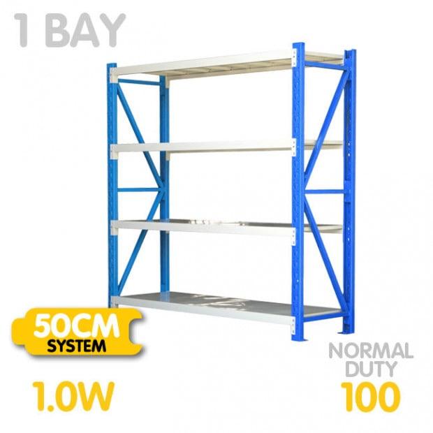 Long span shelving 1m-wide 400kg
