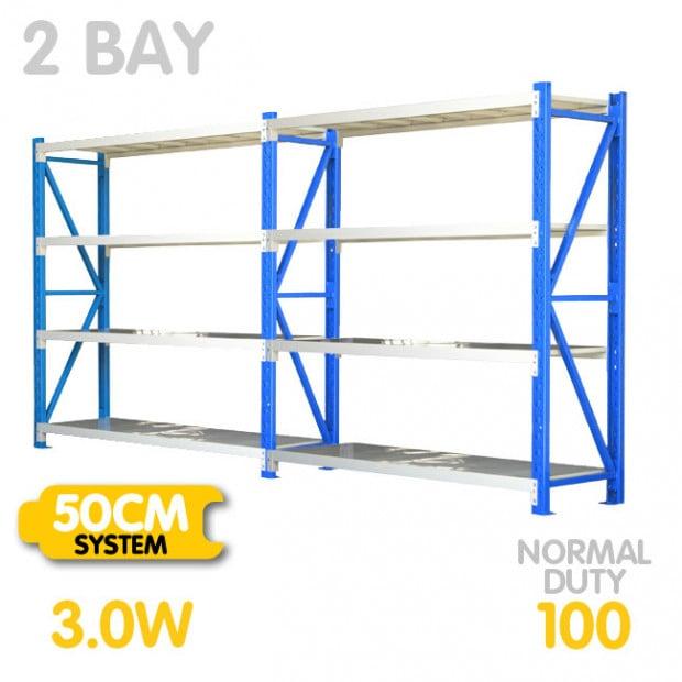 2-Bay shelving 3m-wide 400kg