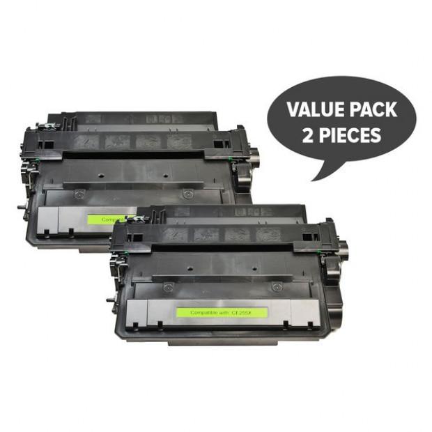 Suit HP. 2 x CE255X #55X Black Compatible Laser Toner